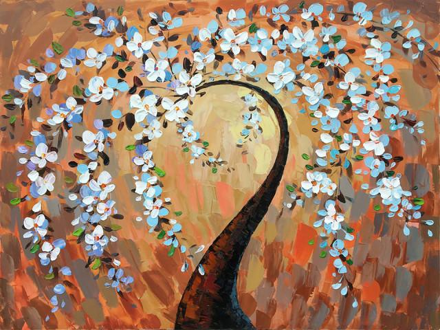 """orange Cherry Blossoms"" Hand Painted Canvas Art."