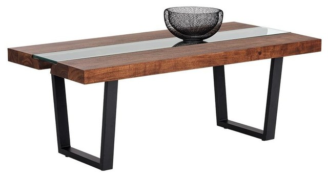 Pavao Coffee Table Glass Acacia Wood Transitional Coffee Tables By Rustic Home Furnishings