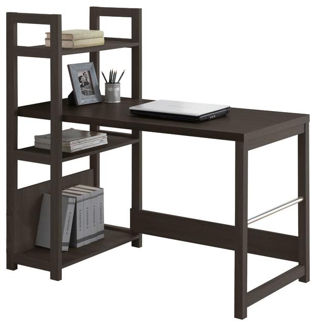 Corliving Folio Black Espresso Bookshelf Styled Desk.