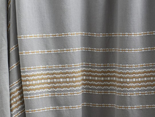 Rippled Stripe Shower Curtain Deep Pewter With Mustard