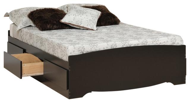 Prepac Black Queen Mate&x27;s Platform Storage Bed With 6-Drawer.