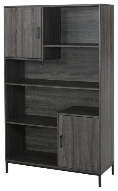 Joanne Contemporary Faux Wood Cube Unit Bookcase, Dark Gray/Black