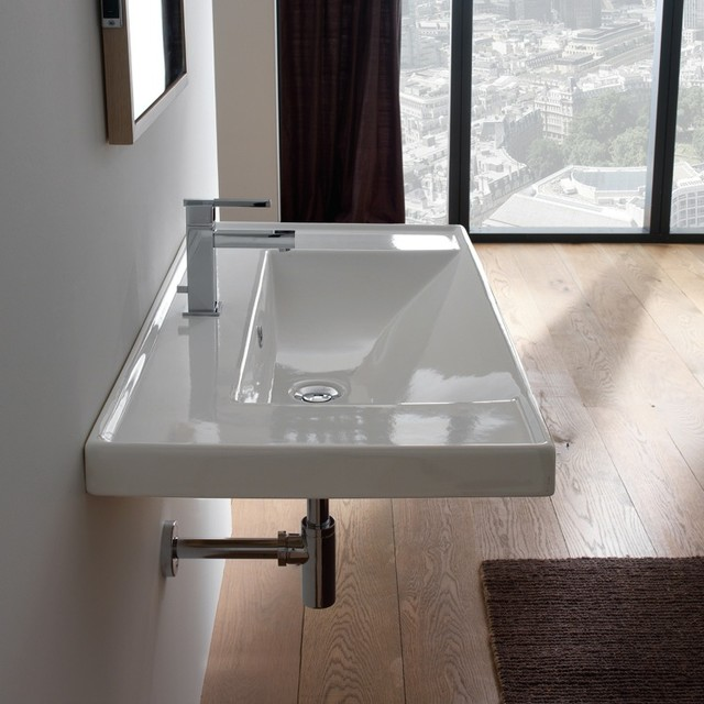 Wide Rectangular Modern Self Rimming or Wall Mounted Ceramic Sink modern- bathroom-sinks
