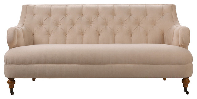 Milano Tufted Accent Sofa, Creme Brulee.
