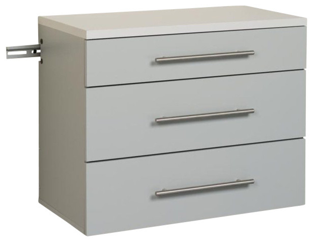 Prepac - HangUps 3-Drawer Base Storage Cabinet, Light Gray Laminate - View in Your Room! | Houzz