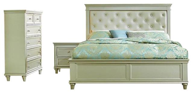 homelegance celandine 3piece platform bedroom set with chest in silver