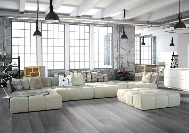 Modern grey loft style living room with porcelain wood floors modern living room
