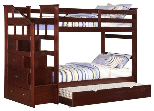 Espresso Twin Over Twin Size Bunk Bed With Trundle Storage Staircase