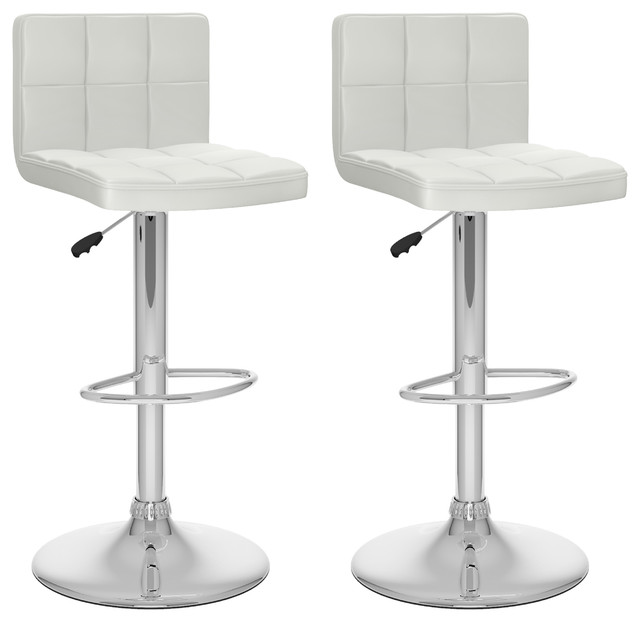 Wondrous Corliving 32 High Back Adjustable Bar Stool In White Set Of 2 Pabps2019 Chair Design Images Pabps2019Com