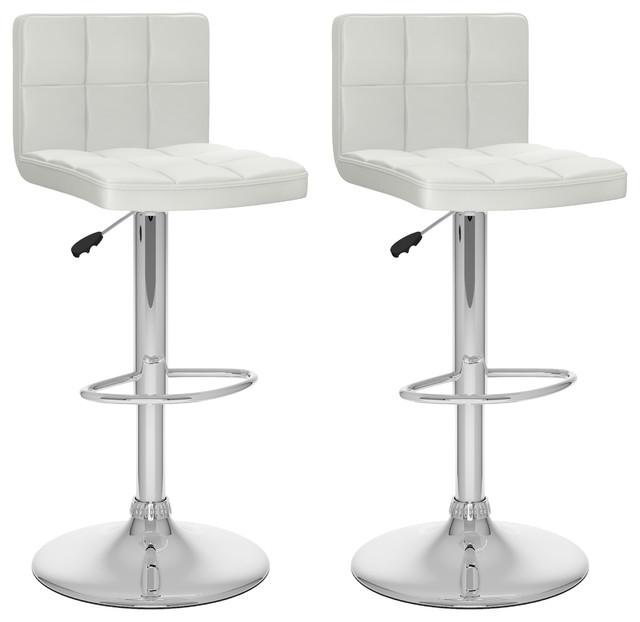 Awe Inspiring Corliving 32 High Back Adjustable Bar Stool In White Set Of 2 Forskolin Free Trial Chair Design Images Forskolin Free Trialorg
