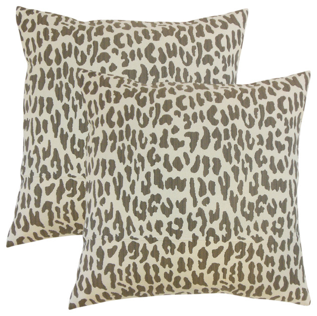 The Pillow Collection Pesach Animal Print Throw Pillow Cover Orchid
