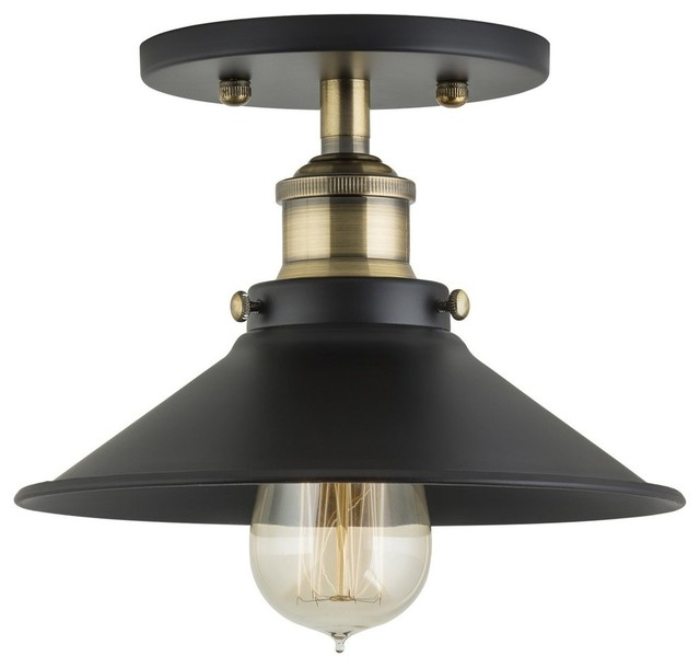 Andante Industrial Semi Flushmount Ceiling Lamp Antique Brass