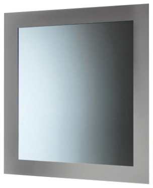 Mirror With Frame Silver Contemporary Bathroom