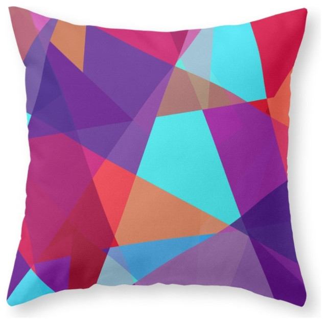 Society6 Jewel Tone Geo, Throw Pillow - Contemporary - Decorative Pillows - by Society6