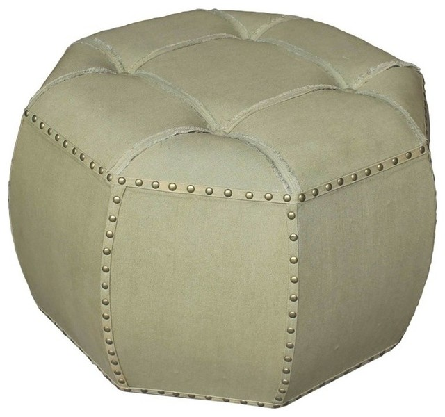Phenomenal International Caravan Octagonal Tufted Indoor Ottoman In Sage Machost Co Dining Chair Design Ideas Machostcouk