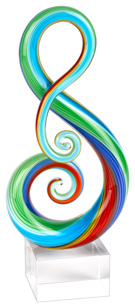 Rainbow Murano Style Art Glass Clef Centerpiece On Crystal Base 16 Contemporary Decorative Objects And Figurines By Badash Crystal