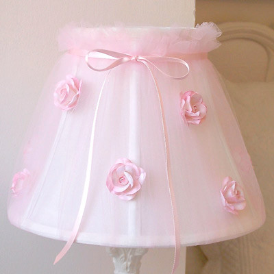 Pink Tulle with Roses Lamp Shade traditional children lighting