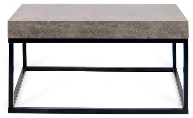 Tema Petra 30x30 Concrete Look Top Black Legs Coffee Table