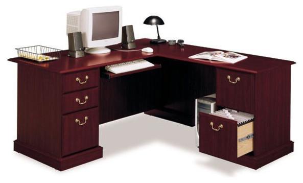 Bush Saratoga L Shape Wood Executive Desk In Harvest Cherry