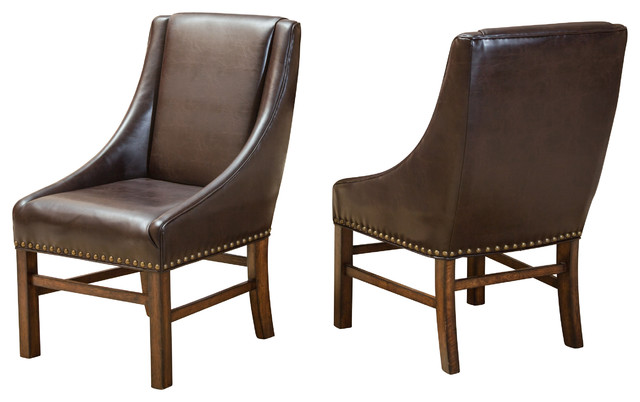 Dining Chairs Brown claudia fabric dining chairs, set of 2 - transitional - dining
