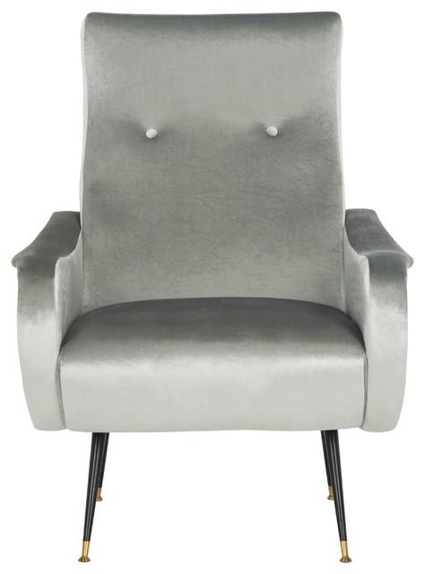 Elicia Velvet Retro Mid Century Accent Chair Light Grey