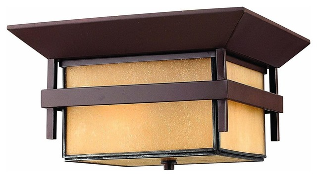 2573ar Harbor Outdoor Flush Mount, Anchor Bronze, Amber-Etched Antique Glass.