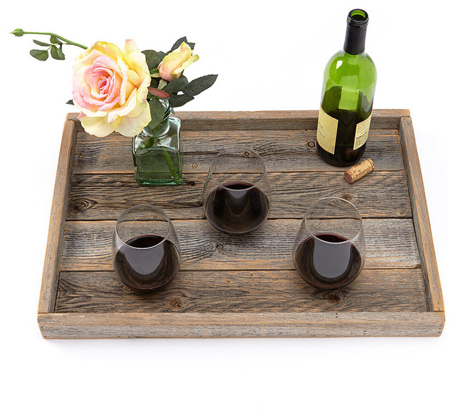 Reclaimed Wood Serving Tray With Slim Lip rustic-serving-trays - Reclaimed Wood Serving Tray With Slim Lip - Rustic - Serving Trays