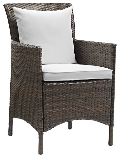 Swell Patio Wicker Rattan Dining Armchair Brown And White Alphanode Cool Chair Designs And Ideas Alphanodeonline