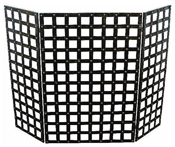 Tuscan Iron Woven Nail Head Design Fire Place Screen Traditional Fireplace Screens By