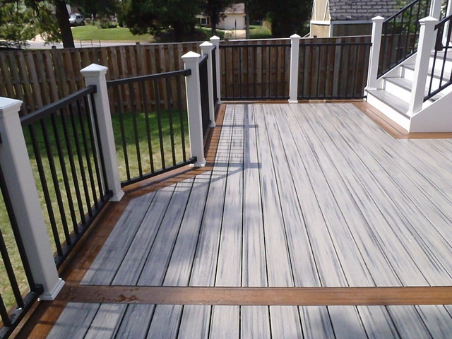 Reveal rails island mist decking and spiced rum border for Garden decking borders