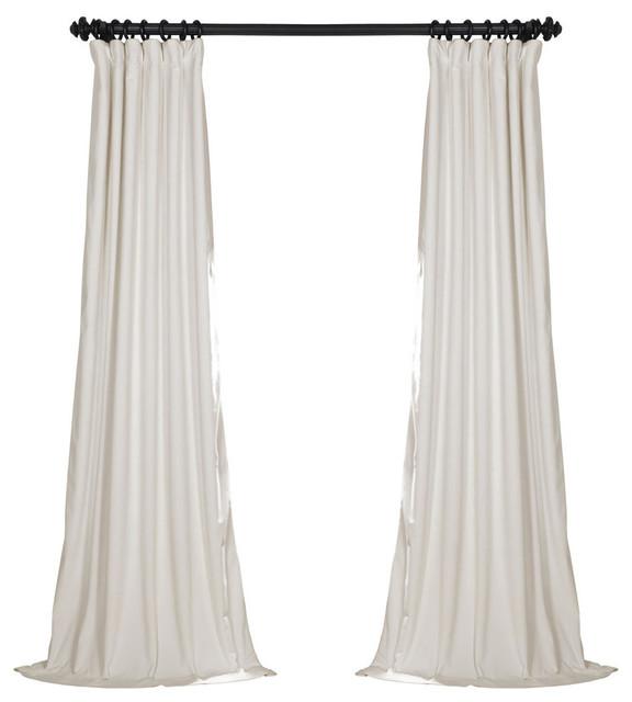 "Signature Off White Blackout Velvet Curtain Single Panel, 50""x108"""