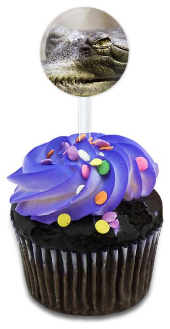 Crocodile Closeup Cupcake Toppers Picks Set.