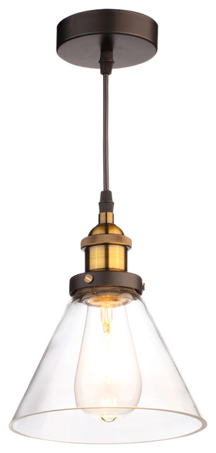 Leta Industrial Clear Glass Pendant Light.