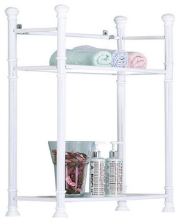 """Sleek Style Metal 26"""" Wall Mount Shelf With Tempered Glass, 3422, White"""