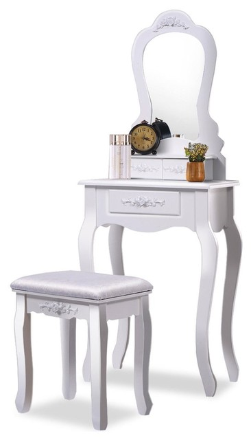 brand new 13619 27b19 Contemporary Vanity Table Set, Mirror, 3-Drawer and Cushioned Stool, White