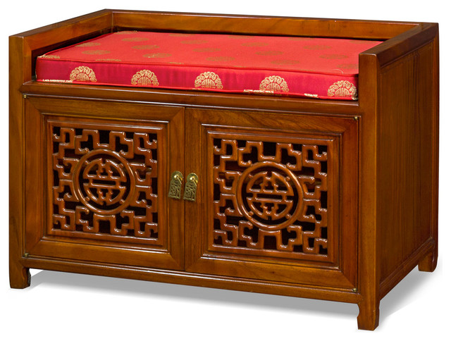 Rosewood longevity design bench asian upholstered for Asian furniture dc