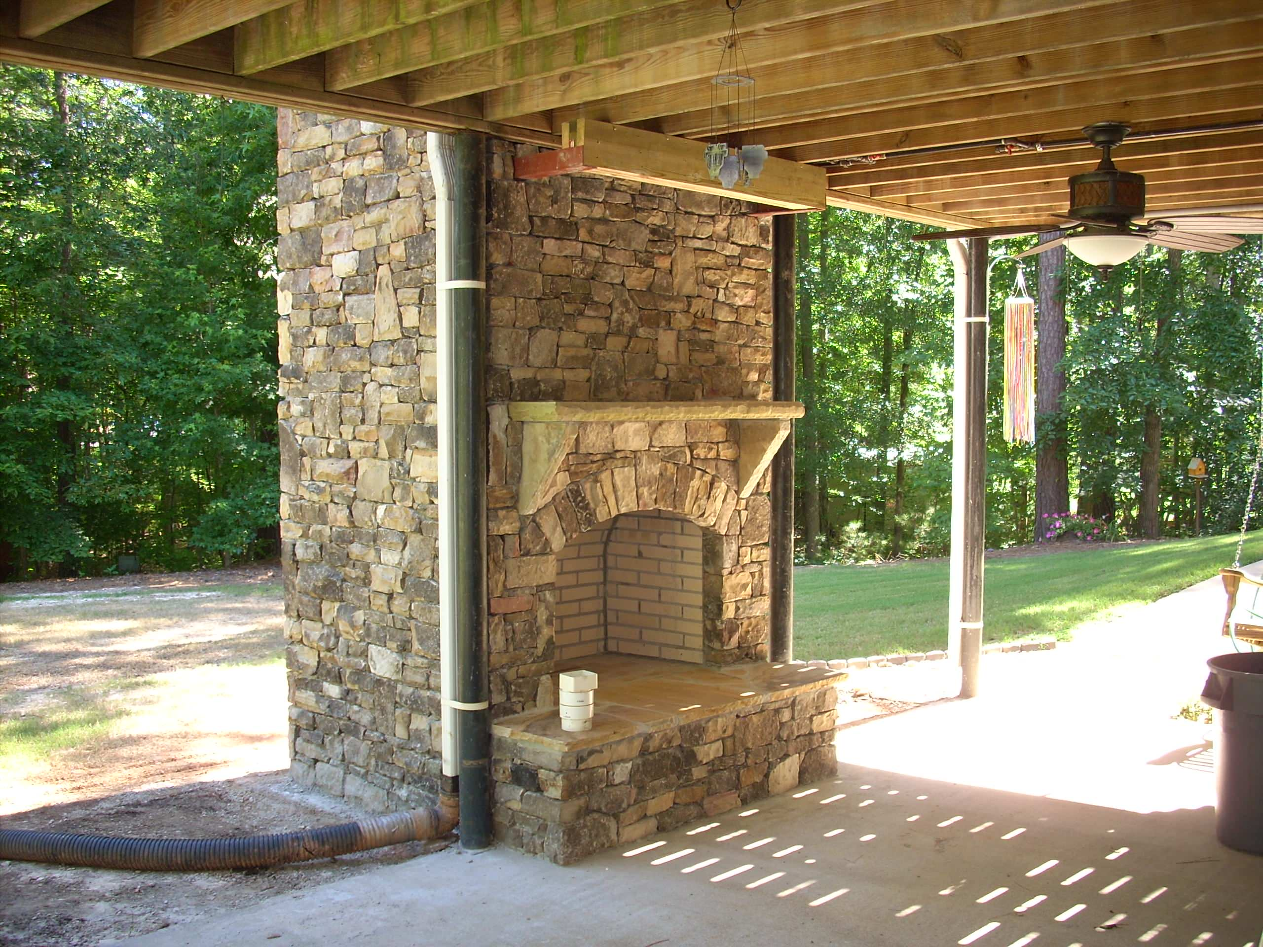 Two Story Outdoor Fireplace