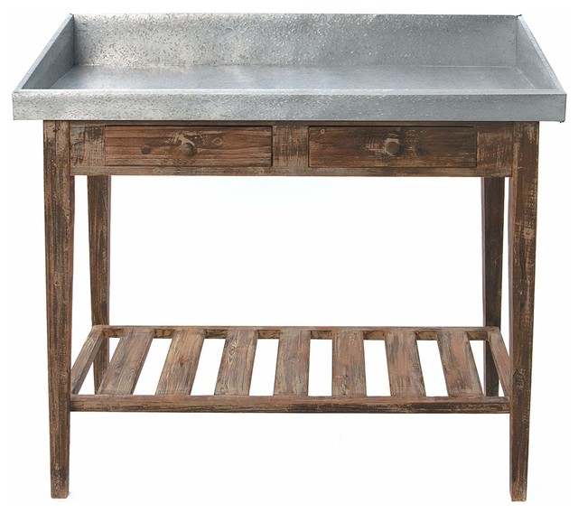 Weathered Rosewood Potting Table W