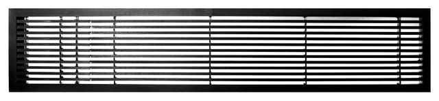 """Ag20 Series 6""""x 24"""" Left Door Solid Aluminum Fixed Bar, Black-Gloss."""