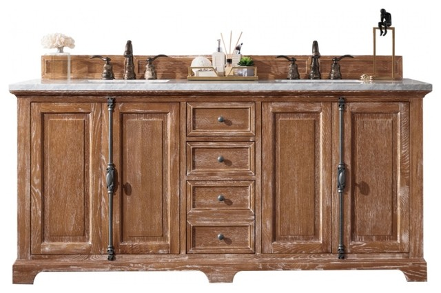 72 Inch Distressed Bathroom Vanity Double Sink Choice Of Top Farmhouse Farmhouse Bathroom Vanities And Sink Consoles By Unique Online Furniture