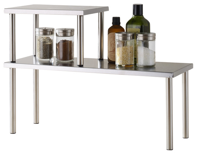 2 Tier Counter Storage Shelf, Stainless Steel Contemporary Pantry And  Cabinet