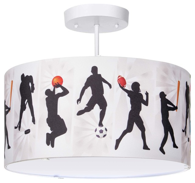 All Sports Light Fixture 3 Lights Contemporary Kids Ceiling Lighting By Firefly Home