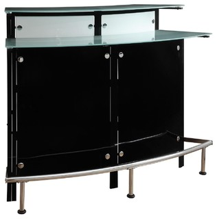 Modern Pub Home Arched Black Bar Table Unit Frosted Glass Shelves Counter Top - Contemporary ...