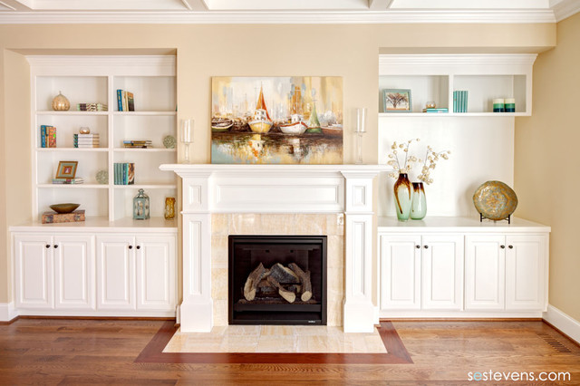 Living room fireplace and built-in shelving