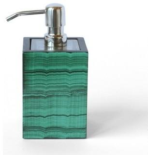 Dransfield ross strada soap dispenser malachite for Green glass bathroom accessories