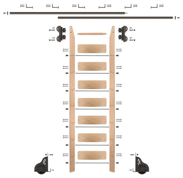 Rolling 8&x27; Red Oak Ladder Kit, Oil Rubbed Bronze, With 12&x27; Total Railing.
