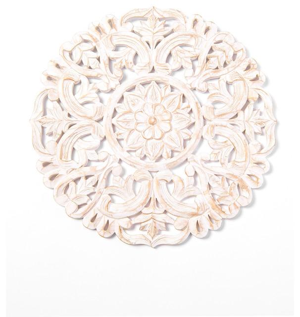 Round Decorative Whitewashed Carved, Round White Wood Wall Decor