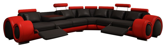 Divani Casa 4087 Modern Bonded Leather Sectional Sofa, Black, Red