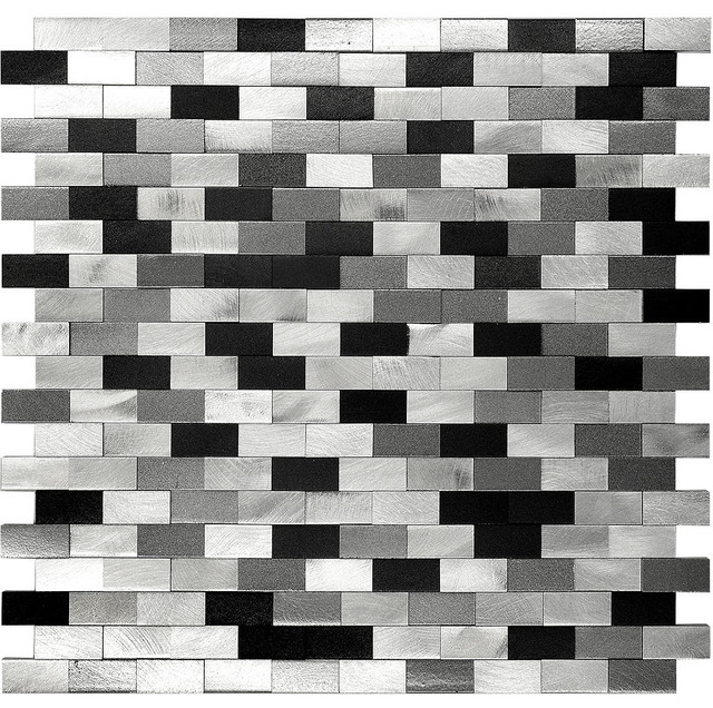 Shop Houzz Mosaic Decor 3d Metal Aluminum Black White