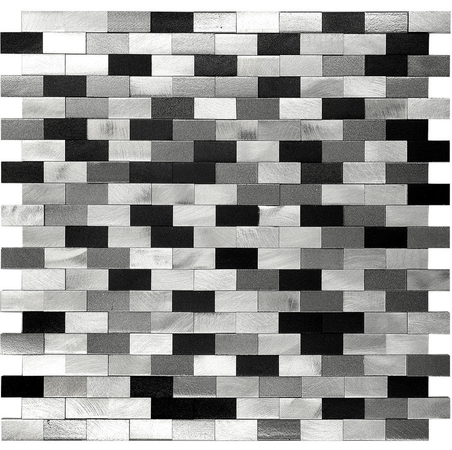 - 3D Metal Aluminum Black White Gray Mosaic Kitchen Backsplash Tile